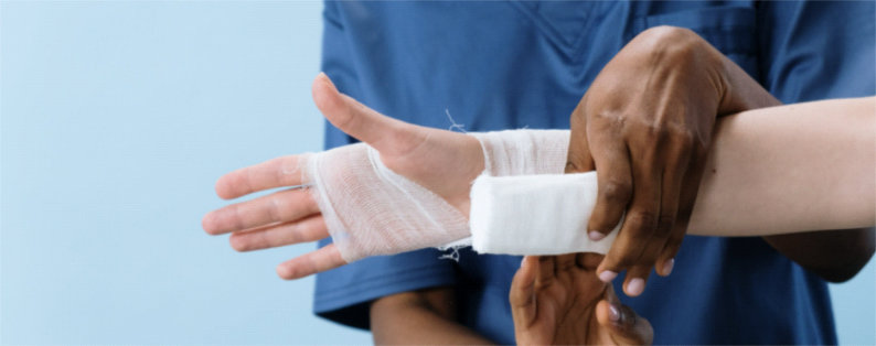 man receiving wound care