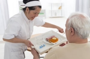 caregiver prepared food for the patient