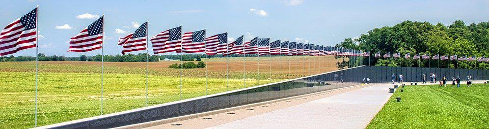 American Flag lined up on wall