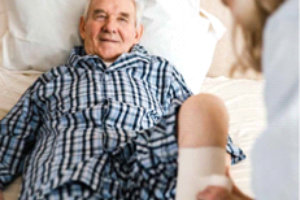 Treating male elderly with wound on the leg